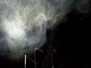Pareidolia within a cloud of breath mist
